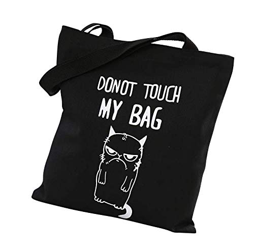 Cotton Canvas Zipper Tote Bag with Interior Pocket, Reusable Washable and Ecofriendly, Perfect for Shopping Travelling School and So on. (Do not touch my bag-Black)