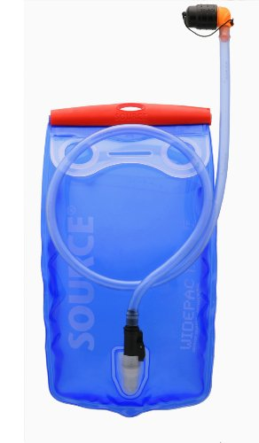 Source Outdoor Widepac Hydration System Reservoir with Helix Bite Valve, 1.5-Liter, Transparent Blue