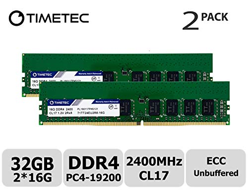 - Timetec Hynix IC 32GB KIT (2x16GB) DDR4 2400MHz PC4-19200 Unbuffered ECC 1.2V CL17 2Rx8 Dual Rank 288 Pin UDIMM Server Memory RAM Module Upgrade (32GB KIT (2x16GB))