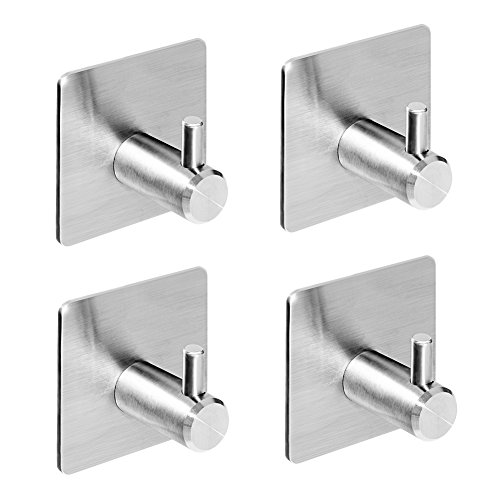 3M Self Adhesive Hooks, Heavy Duty Stainless Steel Key Hooks, Waterproof Stick on Wall Hooks, Powerful No Drill No Screw Damage Free Metal Hook for Coat Robe Towel, for Kitchen Toilet Bathroom(4 Pack) Photo #3