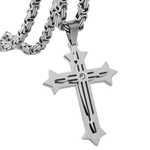 Silver 3 Layer Cross Pendant Necklace Men's Stainless Steel Byzantine Chain,20-34