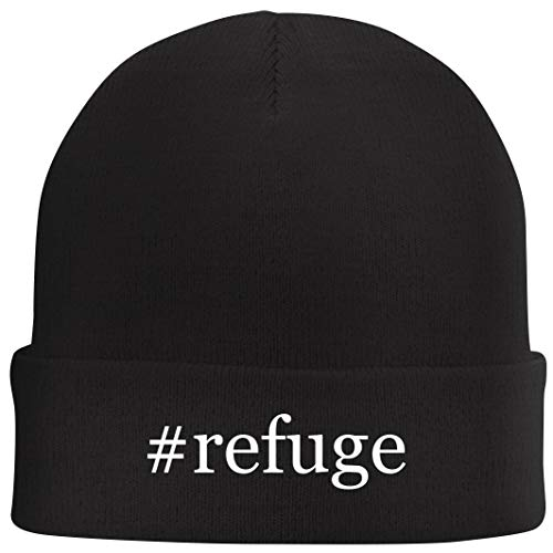 Tracy Gifts #Refuge - Hashtag Beanie Skull Cap with Fleece Liner, Black, One Size