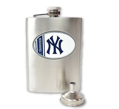 Official Major League Baseball Fan Shop Authentic MLB Stainless Steel 8oz Flask and Funnel Set. Enjoy Your Favorite Spirits With Your Favorite Team (New York Yankees)