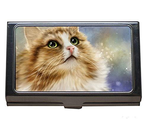 Business Name Card Holder Wallet Credit Card ID Case/Holder,Fluffy Green Eyes Cat Art Stainless Steel Card Holder