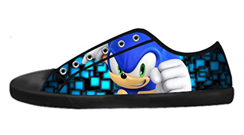 Custom Imported Women's Sonic The Hedgehog Canvas Shoes Low-Top Lace-up Rubber Nonslip Black Casual (Sonic The Hedgehog Sneakers)