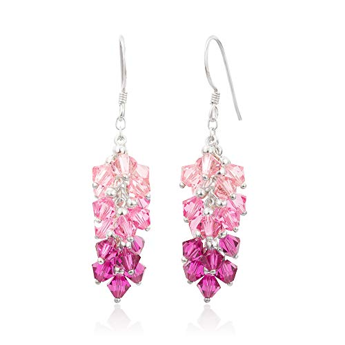 - 925 Sterling Silver Pink Faceted Crystal Beads Dangle Hook Earrings