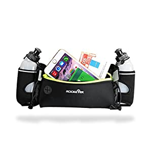 "Rocketek Running Belt With Two BPA-Free 9-Ounce Water Bottles Multifunctional Zipper Pockets Water Resistant Waist Bag - Runners Water Bottle Waist Pack 6.5"" Pouch Fits All Smartphones"