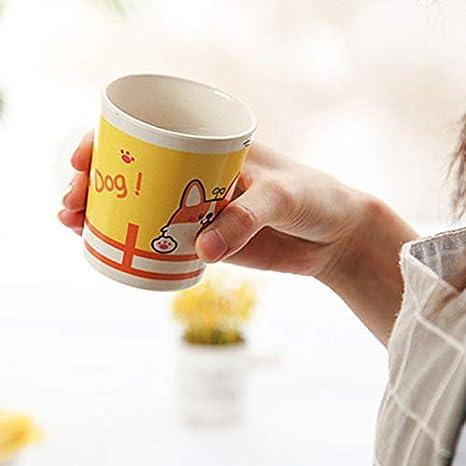 SODIAL Fibre de Bambou Caricature de B/éB/é Manger de la Vaisselle Assiette /à D?Ner pour Enfants Plats dalimentation pour Enfants Cuill/èRe Fourchette 5 Pi/èCes S/éRies//Ensemble Chiot