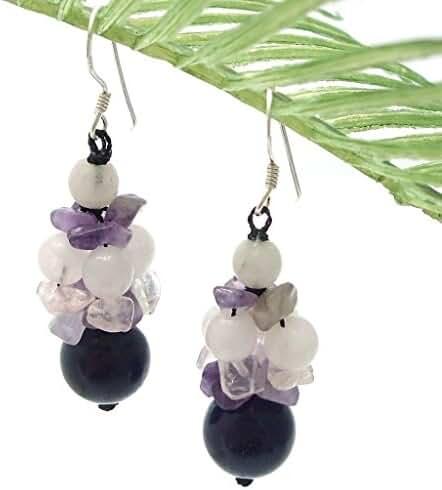 Multi-stone Purple Amethyst .925 Silver Cluster Earrings