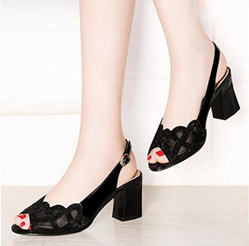 coréenne mode sauvage à dames 35 chaussons Couleur bouche sexy des talons de B de FAFZ poisson nbsp; sandales Sandales d'été de Sandales A plates sandales taille hauts de avec chaussures 76PfBqw