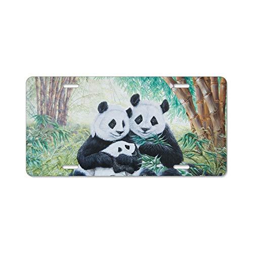 EXMENI Panda Antivirus Free License Plate Holder Durable Car Tag 6x12 Inches with 4 Holes