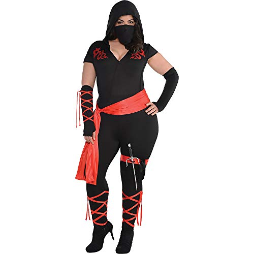 Amscan Adult Dragon Fighter Ninja Costume, Plus XXL (18-20), 7 Count