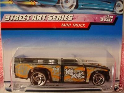 Mattel Hot Wheels 1999 1:64 Scale Street Art Series Black & Silver Mini Truck Die Cast Car 1/4 - Pro Rodz Series