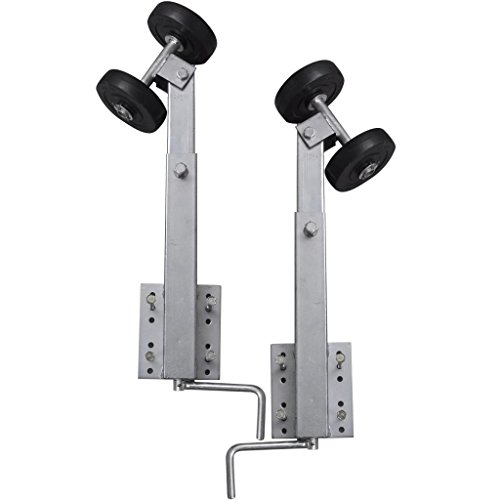 vidaXL 2 pcs 2' - 3' Boat Trailer Double Wheel Bow Support Set Bow Stop Wobble Roller