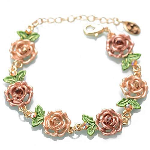 LXDBRAT Pink Blue Red Rose Flowers Wrist Chain Charm Bracelets for Women Fashion Jewelry Cloisonne Floral Bracelets Gift