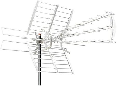 Antena triple combo 47 elementos, digital terrestre DVB-T VHF UHF HD TV 470 – 790 MHz con filtro LTE