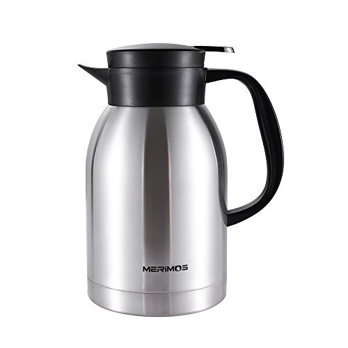 Merimos Coffee Carafe,68 Oz Double Wall Vacuum Insulated Stainless Steel Thermal Carafe for Tea Coffee Fruit Juice, 2 Liter Water Pitcher with Lid (Silver) Wide Mouth Insulated Carafe