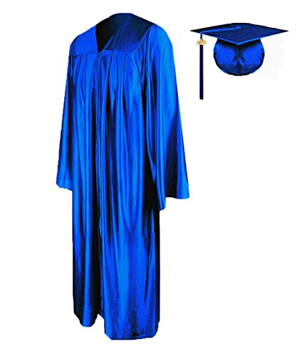 HEPNA [2019 Upgrade] Uniforms Graduation Gown Cap Tassel Set,Shiny Royal Blue Graduation Robe 51 for High School and College Bachelor Grads Ceremony ()
