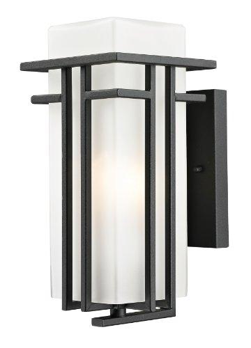 Bk Opal Matte - Z-Lite 549S-BK Outdoor Wall Light with Matte Opal shade, Aluminum Frame