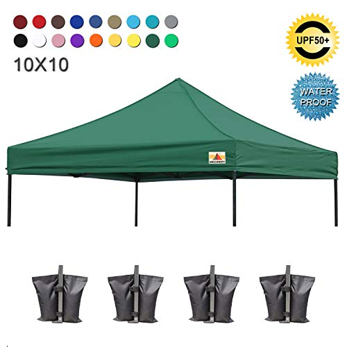 ABCCANOPY Replacement Top Cover 100% Waterproof (18+ Colors) 10x10 Pop Up Canopy Tent Top, Bonus 4 x Weight Bags (Forest Green)