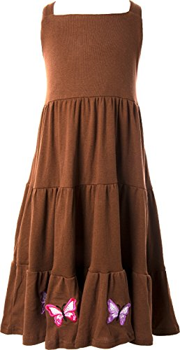 Ipuang Pretty Big Girls' Butterfly Embroidered Long Dress Casual Brown 8 (Neon Tutus For Sale)