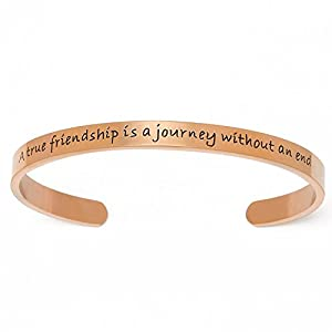 Yoomarket Best Friend Bracelet Cuff Bangle Bracelets A True Friendship is a Journey for Friendship Stainless Steel Custom Jewelry Meaningful Birthday Gift