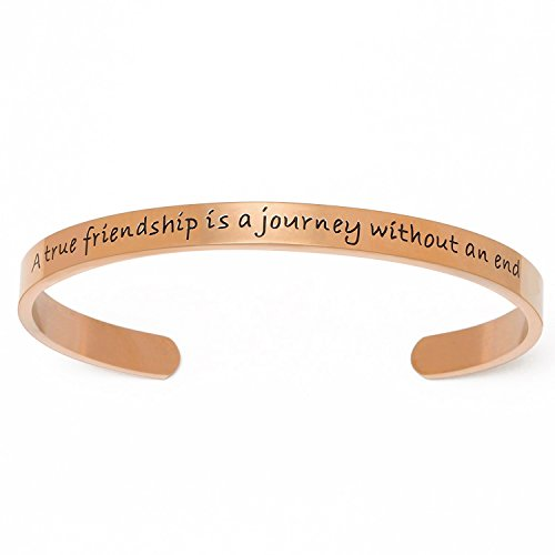 "Yoomarket ""A true friendship is a journey without an end"" Stainless Steel Best Friend Cuff Bangle Charm Bracelets for Sister Meaningful Gift Jewelry"