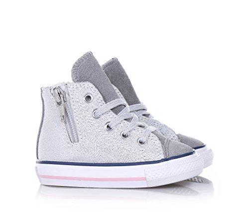 CONVERSE 646381C silber / weiß ct seitliche Reißverschlussmädchenschuhe All-Star-Mitte Grau
