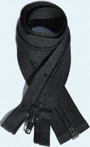 "50 14/"" #5 Nylon Coil Zippers~Separating ~ Black ~ YKK"