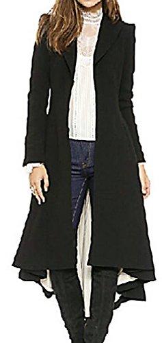 US&R Women's Longline Black Elegant Wool Blend FittedTrench Coat Autumn Fashion, Black X-Large (Coat Midi)