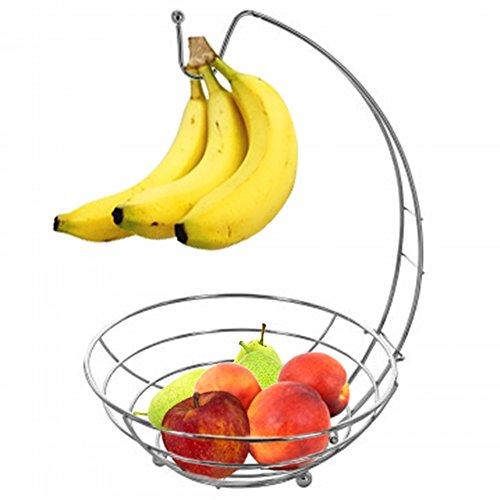 .95 + Nitacy Fruit Basket with Banana Hanger Chrome, Countertop Fruit ...