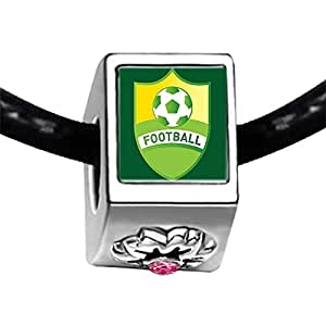 Chicforest Silver Plated UEFA Euro 2012 football shield Photo Light Rose Crystal October Birthstone Flower Charm Beads Fits Pandora Charms