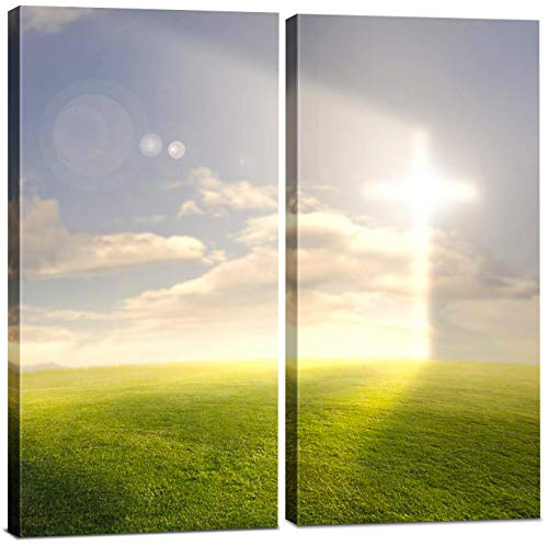 (Christian Canvas Wall Art Decor -12x24 2 Piece Set (Total 24x24 inch)- Religious Cross / Light of God - Decorative & Modern Multi Panel Split Print for Dining & Living)