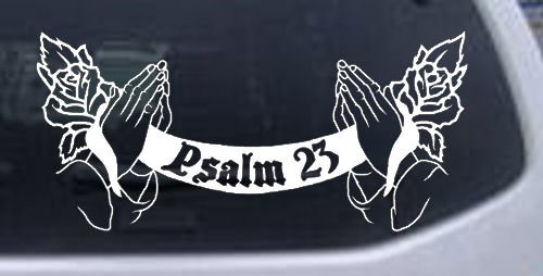 8.5in X 4in White -- Psalm 23 Scroll with praying hands and