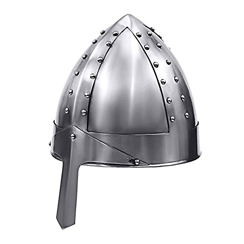 Norman Nasal Helmet Wearable - Medieval Armor Metallic One Size Fits All