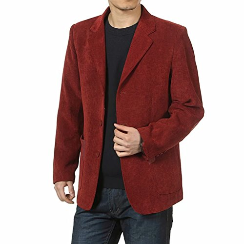 - Men's Blazer Jacket Corduroy Sport Coat Smart Formal Dinner Cotton Jacket Slim Fit Two Button Notch Lapel Coat Wine Red
