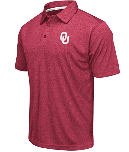 Colosseum Men's NCAA Heathered Trend-Setter Golf/Polo Shirt-Oklahoma Sooners-Heathered Crimson-Medium