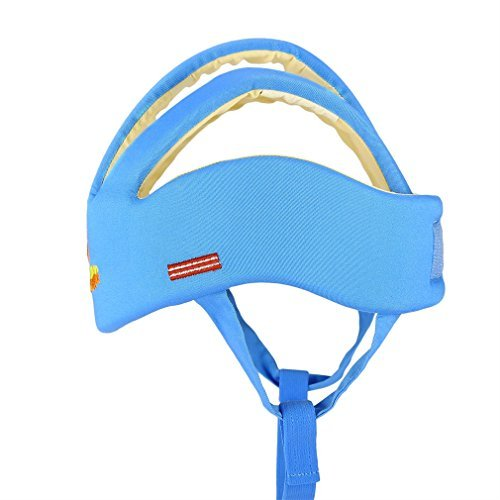 ICOCO Baby Helmet Soft Cotton Adjustable Infant Baby Safety Head Protector Protection Adjustable Head Guard Protective Harnesses Cap for Baby Infant Toddler Kids (3 Lines, Sky Blue) - Baby Safety Helmet