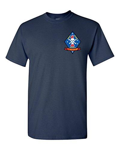 Recon Marine - USMC United States Marine Corps 1st Recon Battalion Badge Navy Shirt (Navy, XL)