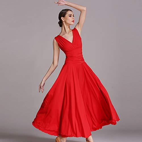 Gonna Le Da Ballo Donne Tango Vestiti Per M collo Senza xxl Wqwlf Sala Valzer Nazionale Pratica Vestito Prestazione V Red Costume Maniche AwgTqF8f