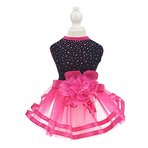 FLAdorepet Red Flower Dog Party Dress Tutu Skirt Summer Small Cats/Dogs Clothes Shirt (M, Red) ()