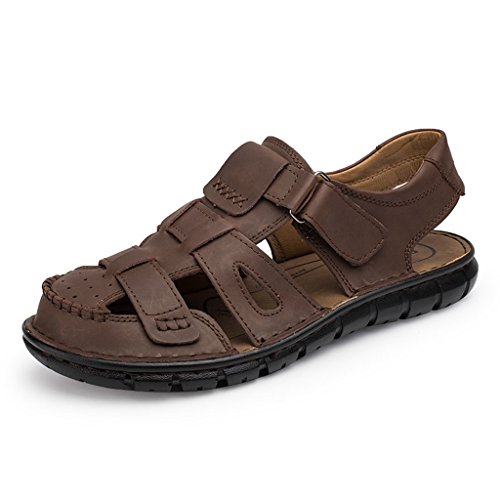 Doris Men Leather Sandals Beach Shoes Casual Summer Outdoor Sports Sandals Darkbrown 9 B(M) US