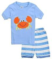 Boys' Pajamas 100% Cotton 2-Piece Shorts Suit Children Pjs Clothes Sets