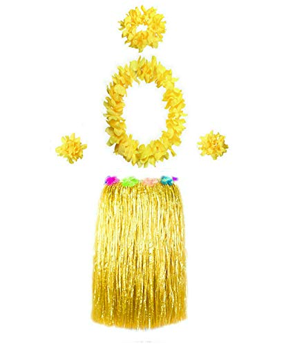 Hawaiian Luau Hula Grass Skirt with Large Flower Costume Set for Dance Performance Party Decorations Favors Supplies (24