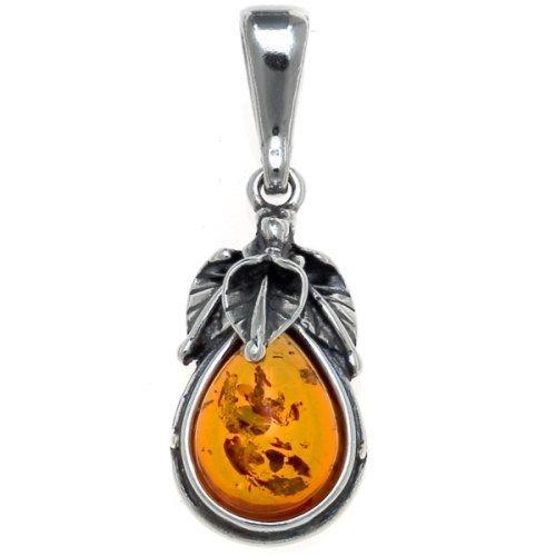 Baltic Amber Leaf Pendant - Honey Amber Sterling Silver Leaf Charm Pendant