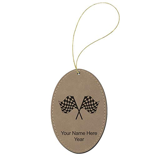 SkunkWerkz Christmas Ornament, Racing Flags, Personalized Engraving Included (Light Brown -
