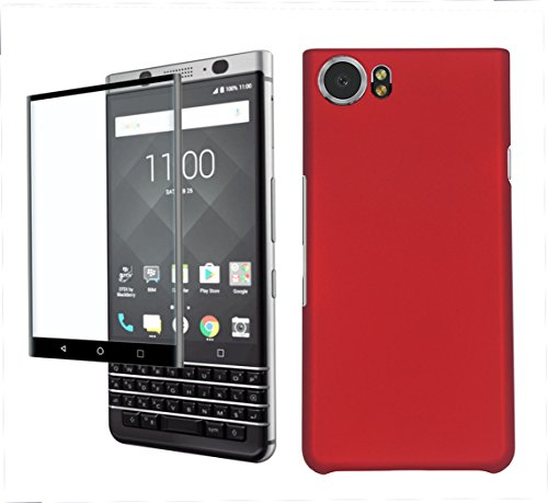 9H HD Clear Tempered Glass Screen Protector + Hard Case Back Cover for Blackberry KEYone (Red)
