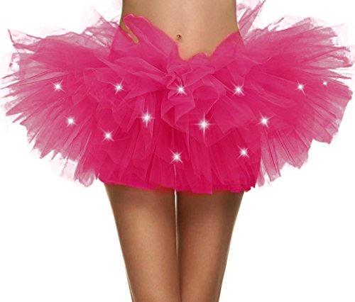 Halconia Adult's Fluffy Sheer Tulle Layered Tutu Skirt w/Fairy Lights, Rose]()
