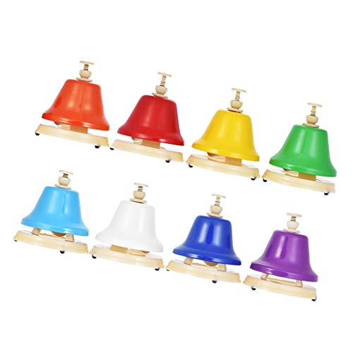 MagiDeal Colorful 8 Note Hand Bell Rhythm Toy Alter Distinct Tone Bell for Beginner by non-brand