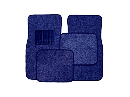 Blue Universal Floor Mat - New Universal Blue Carpet Car Floor Mats 4 Pcs Set for Cars Trucks SUVS With Blue Heel Pad -Front and Rear Mats